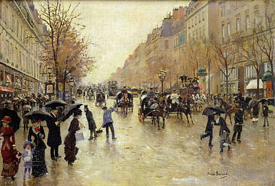 Impressionist Photograph - Boulevard Poissonniere In The Rain, C.1885 Oil On Canvas by Jean Beraud