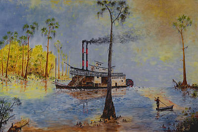 River Boat Painting - Bound For New Orleans Bayou Saint John Louisiana by Richard Barham