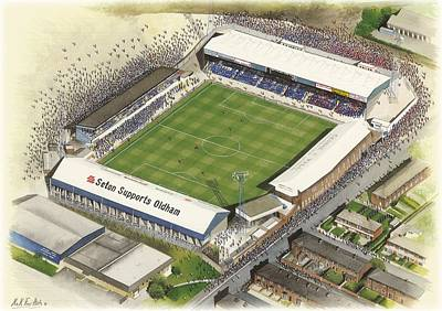 Football Paintings - Boundary Park - Oldham Athletic by Kevin Fletcher