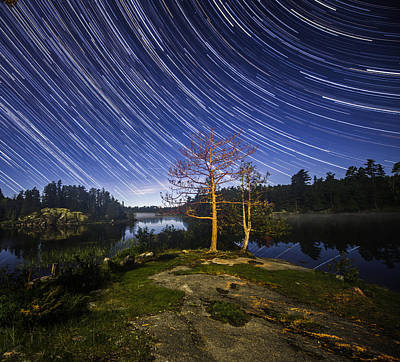 Boundary Waters Photograph - Boundary Waters Star Trails by Christopher Broste