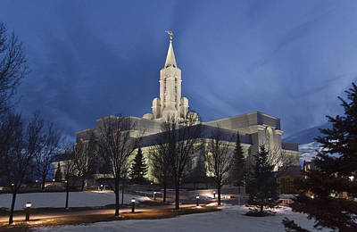 Bountiful Utah Temple In Winter Art Print
