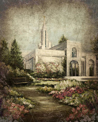 Painting - Bountiful Utah Temple-pathway To Heaven Antique by Marcia Johnson