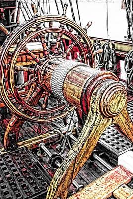 Tall Ship Mixed Media - Bounty Ships Wheel by Don Bendickson