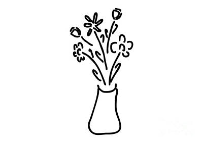 Tulips Drawing - Bouquet In Vase With Roses Tulips by Lineamentum
