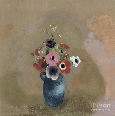 Blue Jug Painting - Bouquet Of Anemones by Odilon Redon