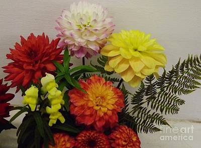 Photograph - Bouquet Of Dahlias by Brigitte Emme