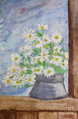 Bouquet Of Daisies Painting Art Print by Kiril Stanchev