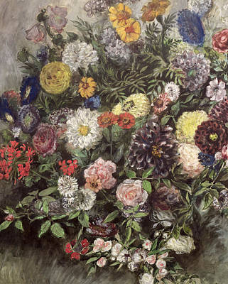 Bouquet Of Flowers Print by Ferdinand Victor Eugene Delacroix