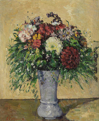 Impressionist Photograph - Bouquet Of Flowers In A Vase, C.1877 Oil On Canvas by Paul Cezanne