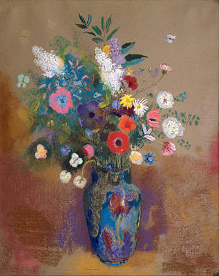 Vase Of Flowers Drawing - Bouquet Of Flowers by Odilon Redon