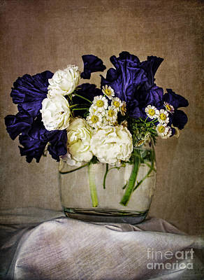 Photograph - Bouquet Of Irises Roses And Daises  by Elena Nosyreva