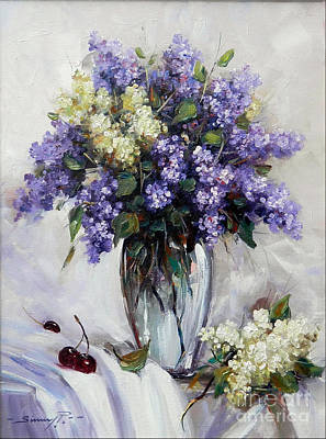 Handmade Glass Flower Painting - Bouquet Of Lilac by Petrica Sincu