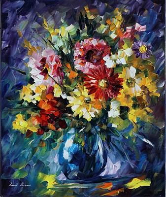 Bouquet Of Love - Palette Knife Oil Painting On Canvas By Leonid Afremov  Original by Leonid Afremov