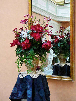 Bouquet Of Peonies With Reflection Print by Susan Savad