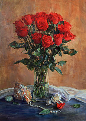 Bouquet Of Red Roses On The Birthday Art Print
