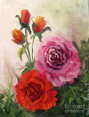 Neutral Background Painting - Bouquet Of Roses by Barbara Haviland