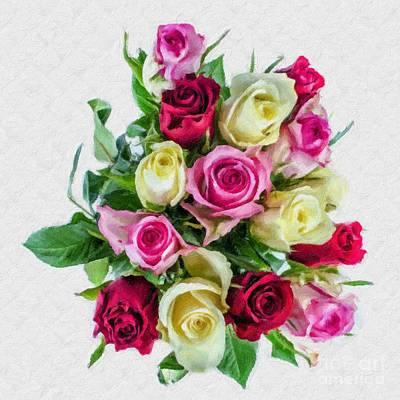 Photograph - Bouquet Of Roses Duvet In Digital Oil Impasto by Ed Churchill