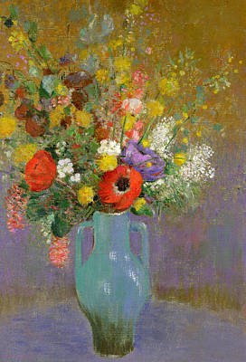 Symbolism In Art Painting - Bouquet Of Wild Flowers  by Odilon Redon