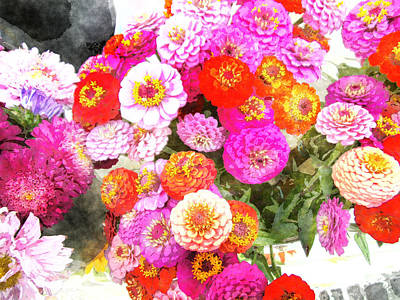 Bouquet Of Zinnias Art Print by MotionAge Designs