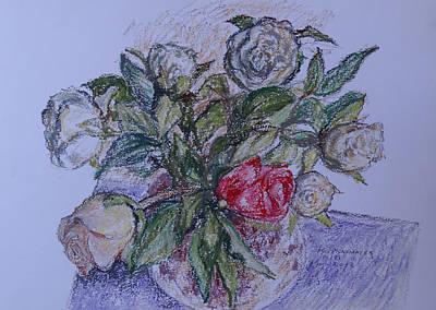 Bouquet Roses Creme Art Print by Agnieszka Praxmayer
