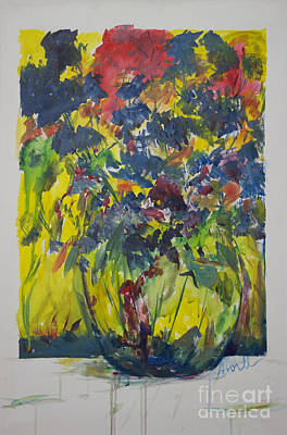 Art Print featuring the painting Bouquet With Blue Flowers by Avonelle Kelsey
