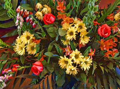 Rust Red Digital Art - Bouquet With Roses by Linda Phelps