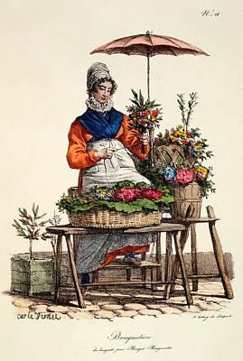 Pour Drawing - Bouquetiere Des Bouquets Pour Margot by Carle Vernet