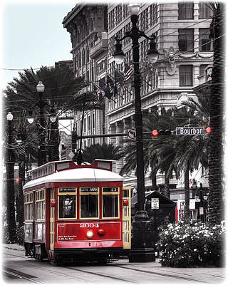 Canal Street Photograph - Bourbon And Canal Trolley Cropped by Tammy Wetzel