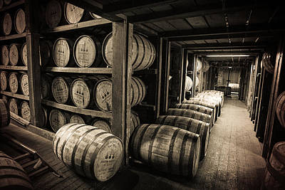 Bar Photograph - Bourbon Barrels by Karen Varnas