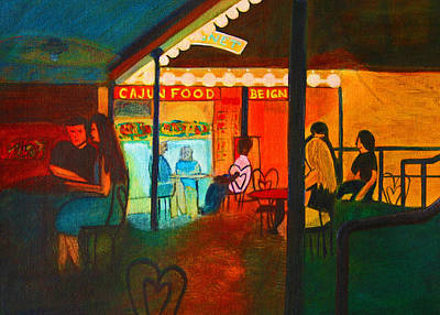 Beignets Painting - At The Cafe by Vonda Adomatis