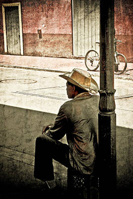Art Print featuring the photograph Bourbon Cowboy In New Orleans by Ray Devlin