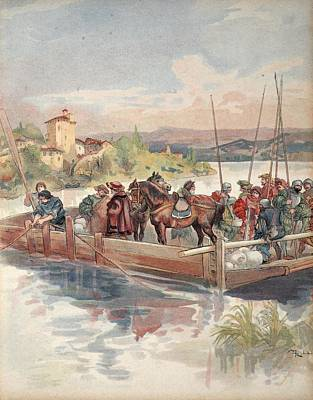 Horses Drawing - Bourbon Flight, Illustration by Albert Robida