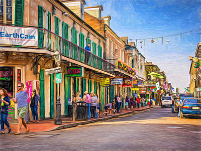 New Orleans Oil Photograph - Bourbon Street Afternoon - Paint by Steve Harrington