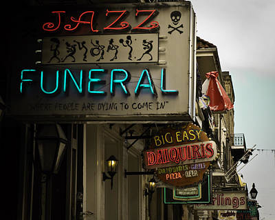 Art Print featuring the photograph Bourbon Street Bar Signs In New Orleans by Ray Devlin