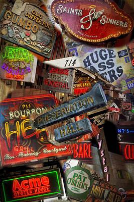 Photograph - Bourbon Street Compilation Nola Dsc05963 by Greg Kluempers