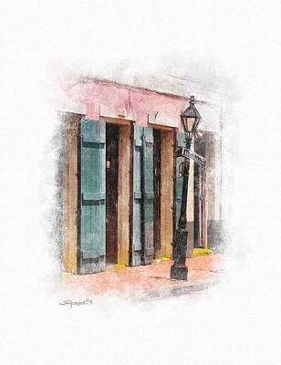 Digital Art - Bourbon Street Lamp Post by Alan Sherlock