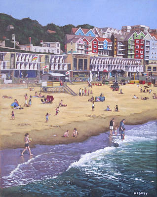 Painting - Bournemouth Boscombe Beach Sea Front by Martin Davey