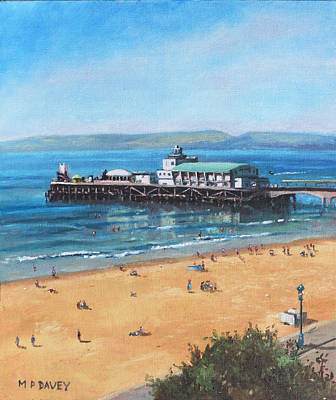 Painting - Bournemouth Pier Summer Morning From Cliff Top by Martin Davey