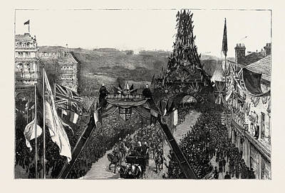 Eiffel Drawing - Bournemouth, The Royal Procession Passing Under The Eiffel by English School