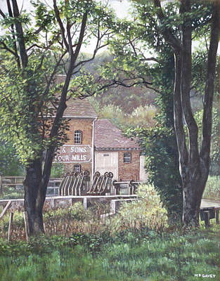 Old Mills Painting - Bournemouth Throop Mill Through Trees by Martin Davey