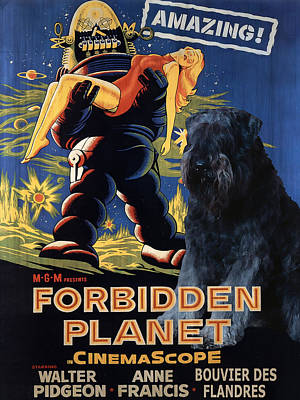 Painting - Bouvier Des Flandres - Flanders Cattle Dog Art Canvas Print - Forbidden Planet Movie Poster by Sandra Sij