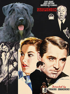 Painting - Bouvier Des Flandres - Flanders Cattle Dog Art Canvas Print - Suspicion Movie Poster by Sandra Sij