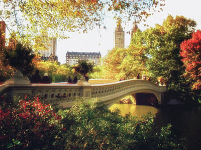 Nyc Skyline Photograph - Bow Bridge - Autumn - Central Park by Vivienne Gucwa