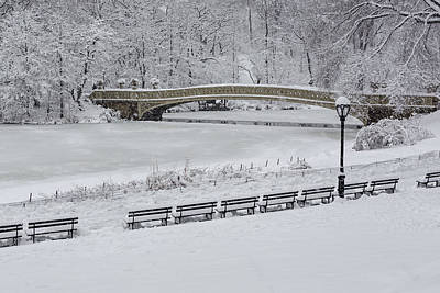 Photograph - Bow Bridge Central Park Winter Wonderland by Susan Candelario