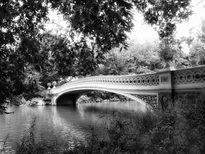 Water Reflections Digital Art - Bow Bridge In Black And White by Jessica Jenney