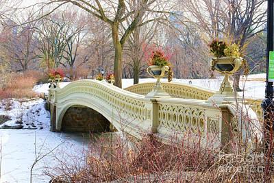 Bow Bridge In Central Park Ny Art Print by Paul Ward