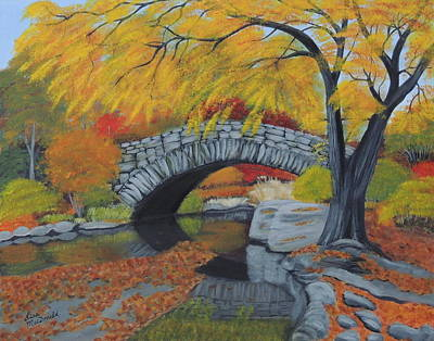 Bow Bridge In Fall Original by Lisa MacDonald