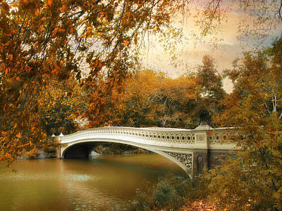 Gothic Bridge Photograph - Bow Bridge October by Jessica Jenney