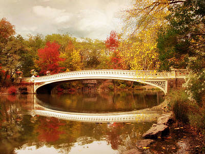 Fall Foliage New York Wall Art - Photograph - Bow Bridge Reflected by Jessica Jenney