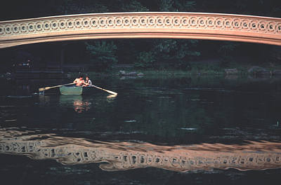 Bow Bridge Rowboat Central Park Print by Tom Wurl